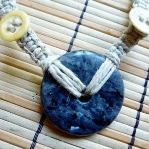 Larvite Hemp Necklace, Handmade Jewelry